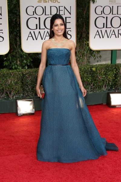 Freida Pinto Pictures: Golden Globes 2012 Awards Red Carpet Photos, Pics