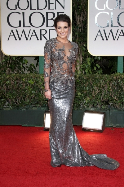 Lea Michele Pictures: Golden Globes 2012 Awards Red Carpet Photos, Pics