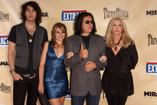 Gene Simmons, Shannon Tweed, Nick Simmons and Sophie Simmons Pictures: Extract Movie Premiere Red Carpet Photos